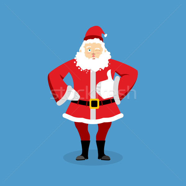 Santa Claus thumbs up well and winks. Sign all right. Merry Chri Stock photo © popaukropa