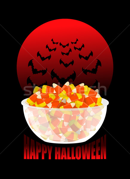 Happy Halloween. bowl and candy corn. Moon and bat. Sweets on p Stock photo © popaukropa