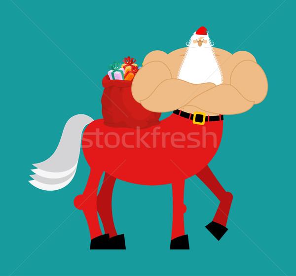 Santa Claus centaur. Santa monster. Half man half horse. Christm Stock photo © popaukropa