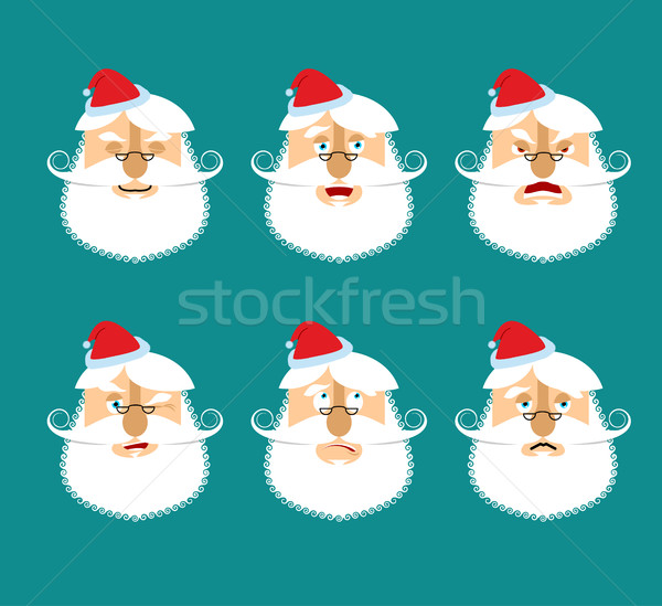 Santa Emoji set  Face Santa Claus collection  Good and evil
