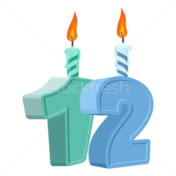 12 years birthday. Number with festive candle for holiday cake.  Stock photo © popaukropa