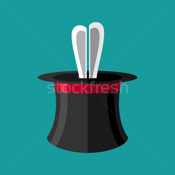 Magic trick rabbit in hat. Magical cap and bunny. animal illusio Stock photo © popaukropa