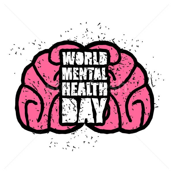 世界 メンタルヘルス 日 エンブレム シンボル 人間の脳 ストックフォト © popaukropa