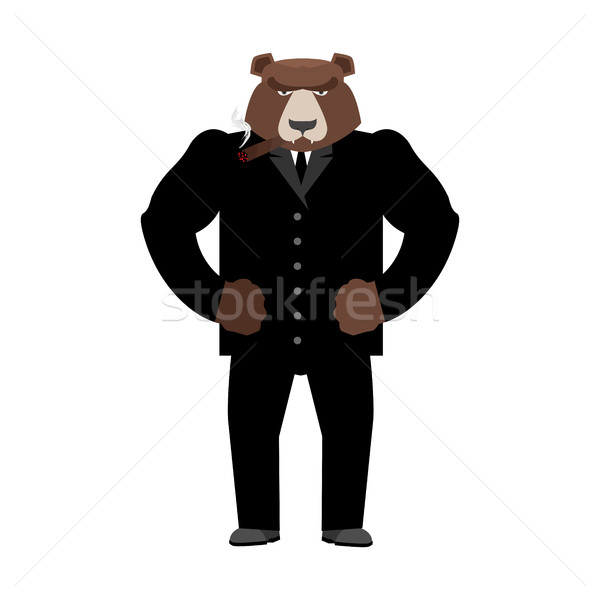 Bear boss. Grizzly businessman in business suit. Wild animal Stock photo © popaukropa