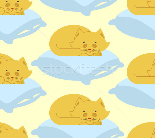 Cat sleeps on pillow seamless pattern. Sleeping kitten ornament. Stock photo © popaukropa