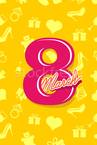 8 March. International women's day. 3D postcard. Heart, ring, gi Stock photo © popaukropa