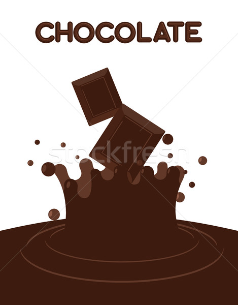 Pieces of chocolate fall into liquid hot chocolate. Splashes of  Stock photo © popaukropa