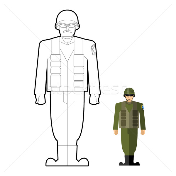 Soldiers coloring book. Military clothing: helmet and body armor Stock photo © popaukropa