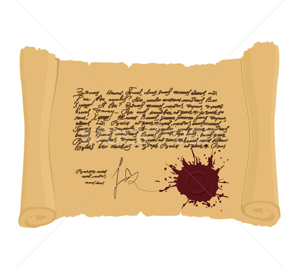 Ancient scroll with  seal. Indefinite abstract text in vintage s Stock photo © popaukropa