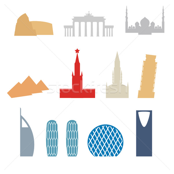 Set of flat buildings icons countries. Attraction of Dubai, Rome Stock photo © popaukropa