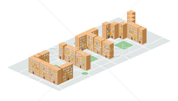 город изометрический здании форме письма люди Сток-фото © popaukropa