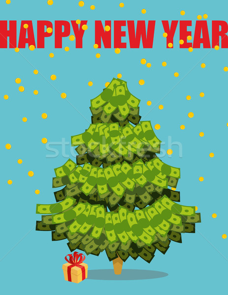 Christmas tree out of money. Happy new year. Snowfall of coins.  Stock photo © popaukropa