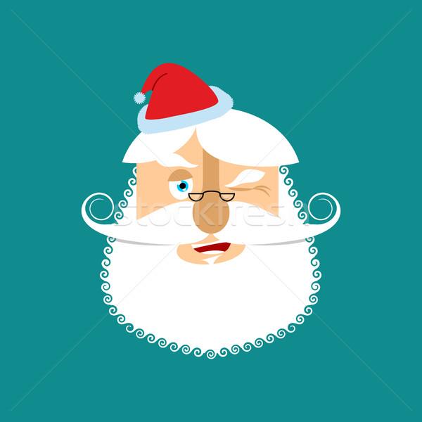 Mikulás vidám mikulás fej nagyapa szakáll Stock fotó © popaukropa