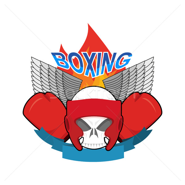 Boxing logo. Sports emblem. Skull and boxing gloves. Protective  Stock photo © popaukropa