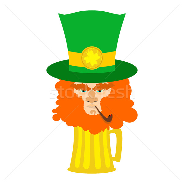 Leprechaun with red beard and beer. St. Patricks Day character.  Stock photo © popaukropa