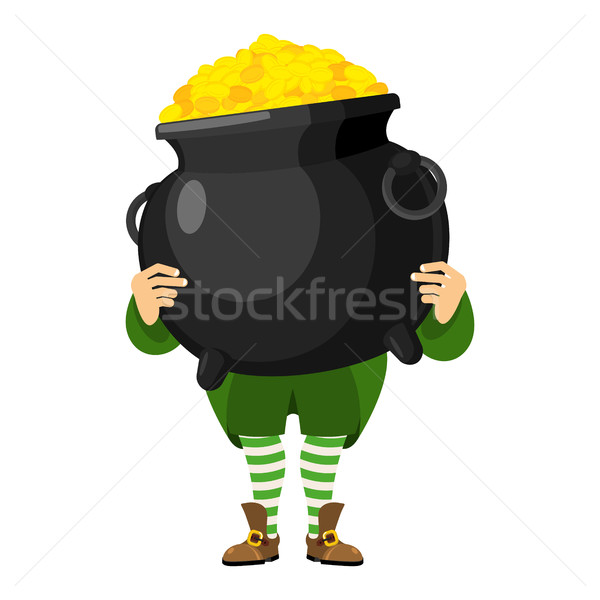 Leprechaun holding pot of gold. Dwarf with red beard and boiler  Stock photo © popaukropa