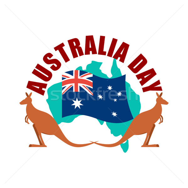 Australia Day emblem. Kangaroo Australian flag and map. Stock photo © popaukropa