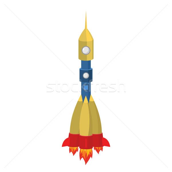 Rakéta rajz stílus izolált űrhajó fehér Stock fotó © popaukropa