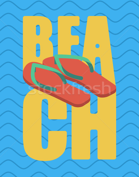 Beach and slippers. Summer shoes lettering. Sea Typography Stock photo © popaukropa