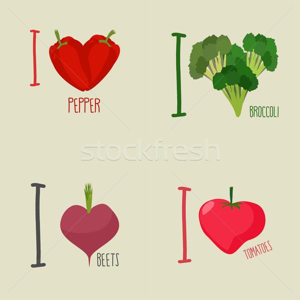 Sevmek sebze brokoli pancar simge kalp Stok fotoğraf © popaukropa