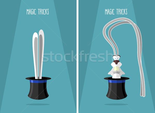 Uzun kulaklar tavşan şapka büyücü poster Stok fotoğraf © popaukropa