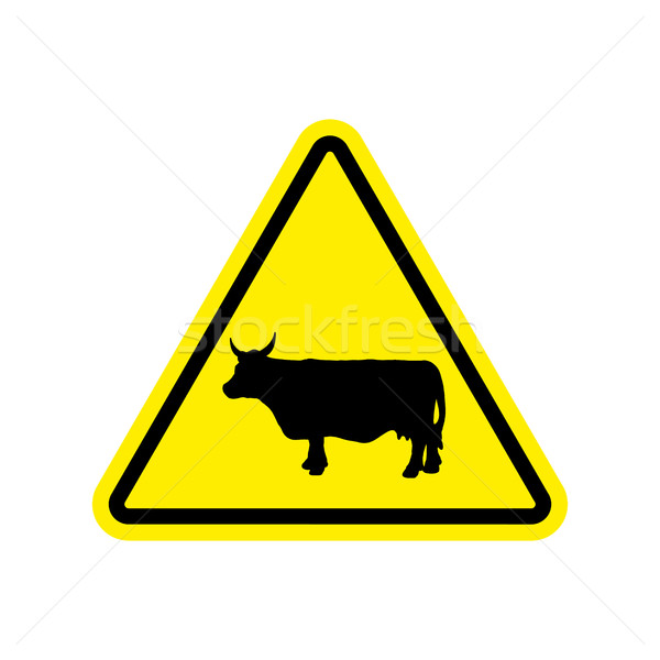 Cow Warning sign yellow. Farm Hazard attention symbol. Danger ro Stock photo © popaukropa