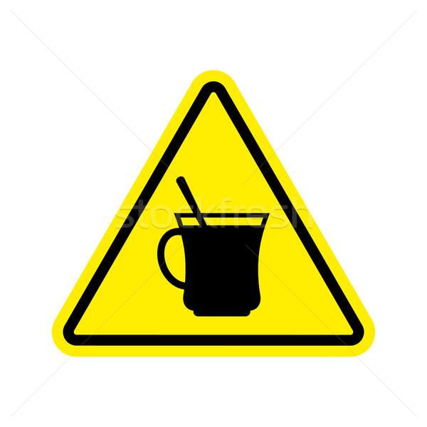 Coffee Warning sign yellow. Drinking tea Hazard attention symbol Stock photo © popaukropa