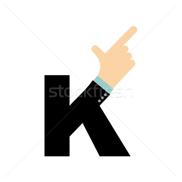 K letter hand. Forefinger lettering. Hand of business suit Stock photo © popaukropa