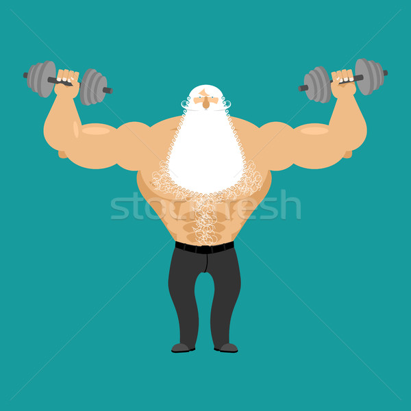 Retired athlete and dumbbells. Strong Santa fitness. Old man Spo Stock photo © popaukropa