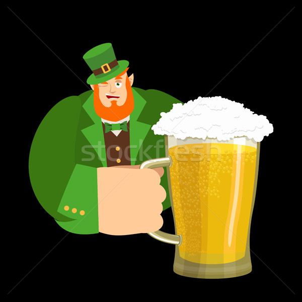 Happy St.Patrick 's Day. Leprechaun and mug beer. Dwarf with red Stock photo © popaukropa