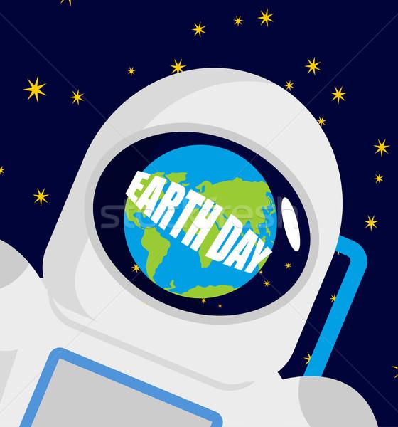 Föld napja sisak űrhajós bolygó űrhajós sapka Stock fotó © popaukropa