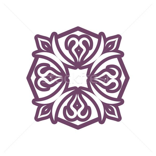 Arabic ornament isolated. Oriental decorative rosette. Islamic S Stock photo © popaukropa