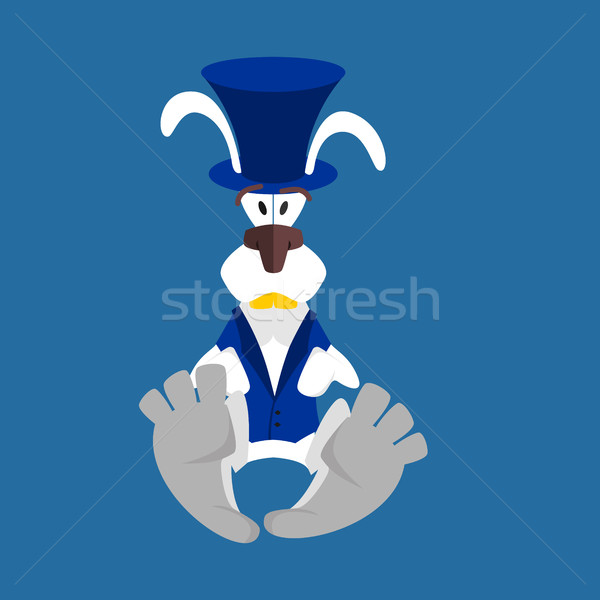 White Rabbit in Hat. Hare in blue vest. Alice in Wonderland Stock photo © popaukropa
