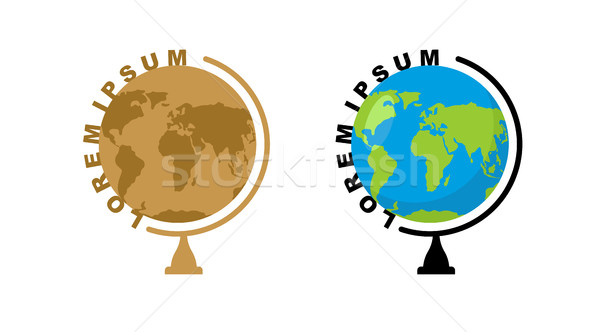School globe logo. Emblem for travel company. Ball mode  Earth Stock photo © popaukropa