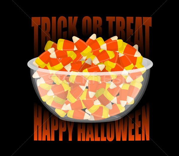 Trick or treat. Happy Halloween. bowl and candy corn. Sweets on  Stock photo © popaukropa
