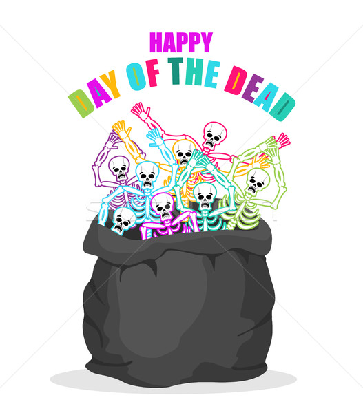 Day of the Dead. Skeletons in sack. Multicolored skull in bag. L Stock photo © popaukropa