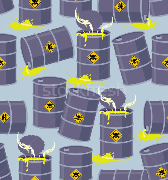 Dump toxic waste barrels. Seamless pattern dump hazardous chemic Stock photo © popaukropa