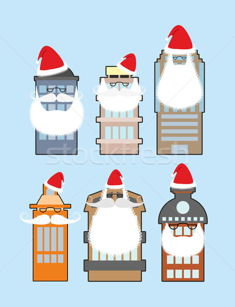 Set of buildings with beard and mustache Santa Claus. Decorating Stock photo © popaukropa
