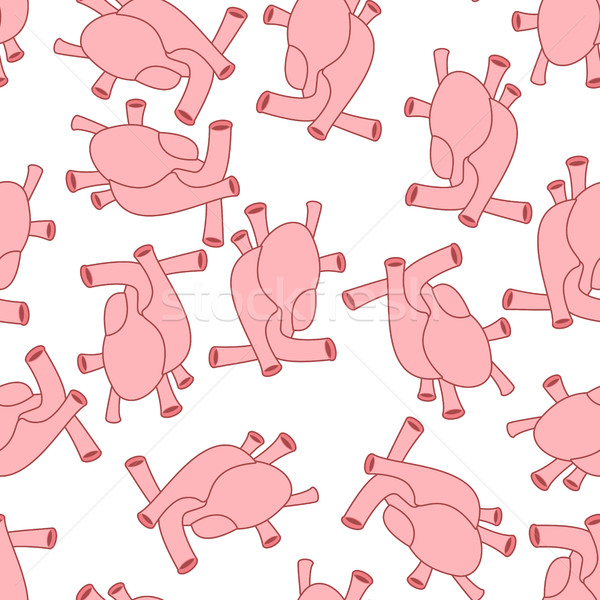 Heart anatomy body seamless pattern. Atrial and ventricular patt Stock photo © popaukropa