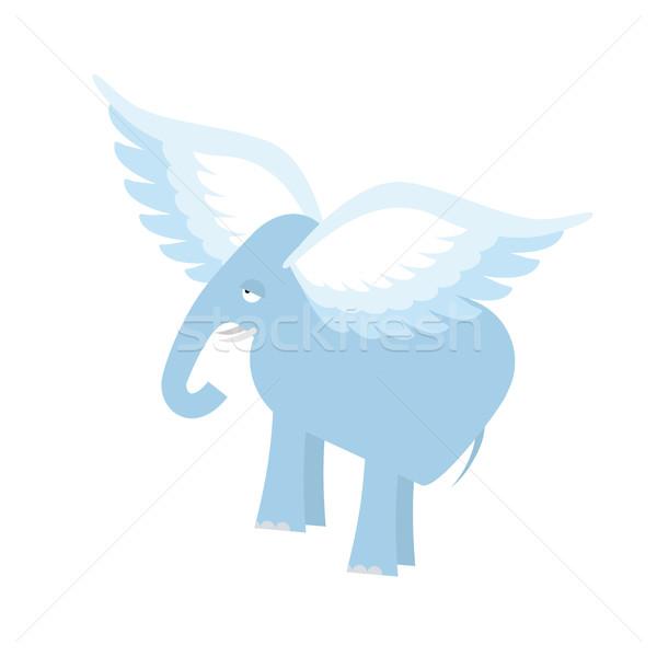 Uçan fil fantastik hayvan kanatlar yalıtılmış Stok fotoğraf © popaukropa