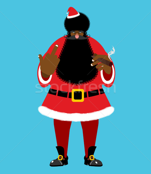 Bad Black Santa with cigar shows to fuck. Angry African Claus. H Stock photo © popaukropa