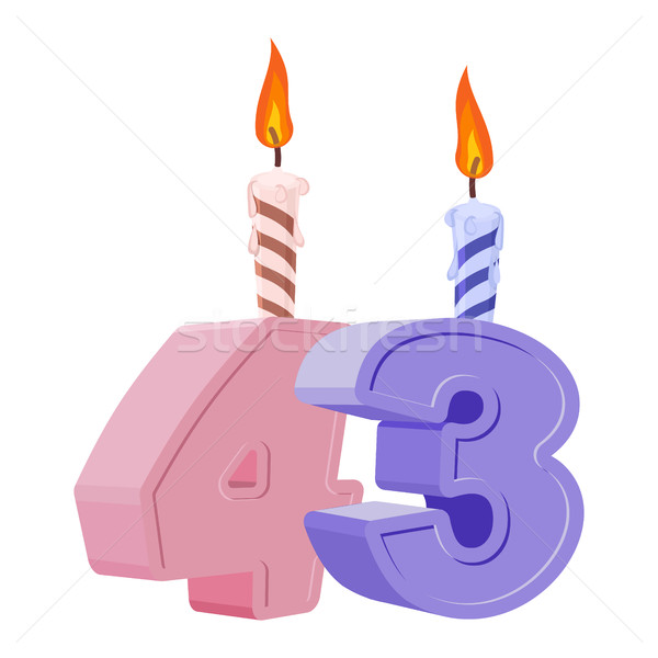 43 years birthday. Number with festive candle for holiday cake.  Stock photo © popaukropa