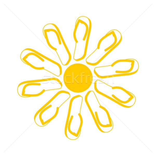 Terlik güneş yaz ayakkabı simge imzalamak plaj Stok fotoğraf © popaukropa