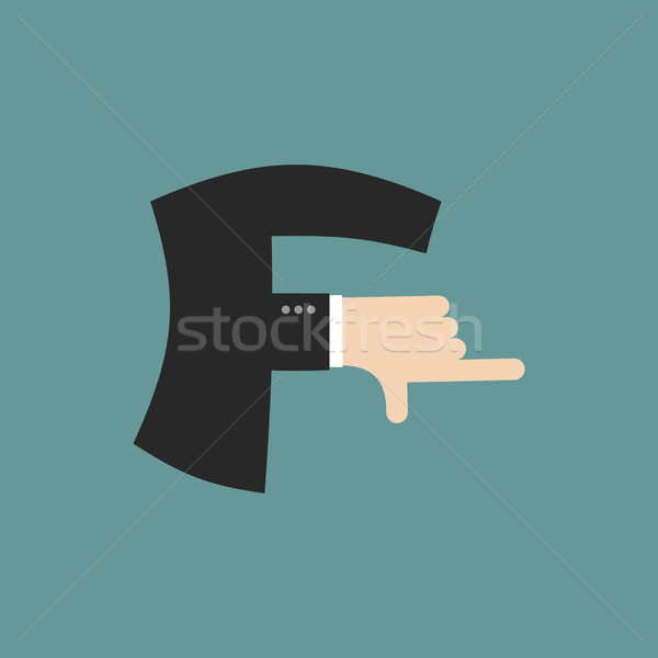 F letter businessman hand font. It shows finger print. Arm symbo Stock photo © popaukropa