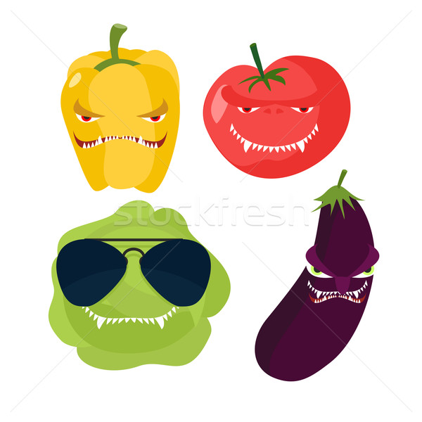 Scary vegetables. Cabbage in glasses, horrible pepper, ferocious Stock photo © popaukropa