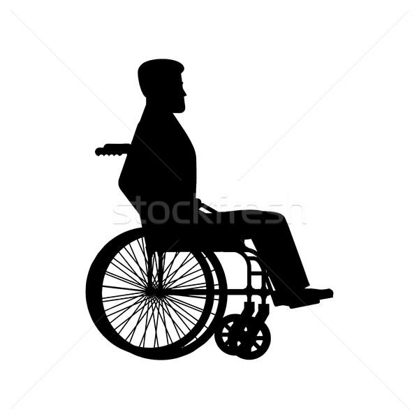 無効になって 車いす シルエット 男 キャリッジ ホイール ストックフォト © popaukropa
