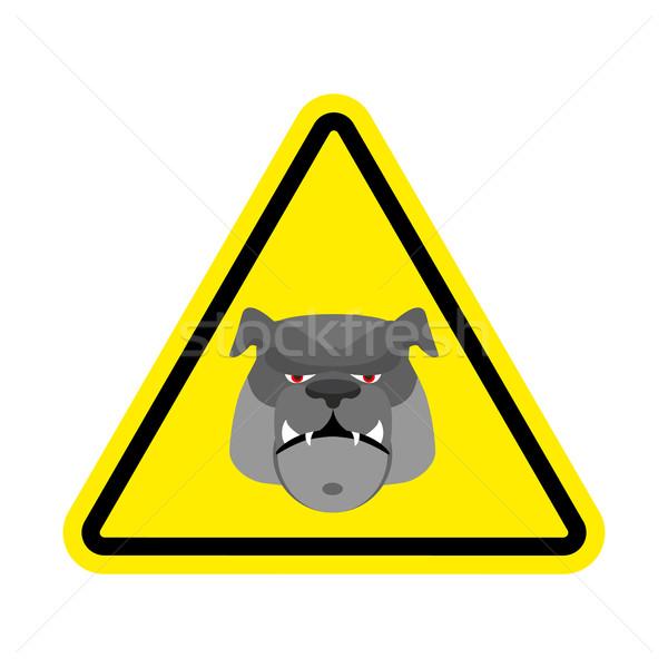 Angry Dog Warning sign yellow. Bulldog Hazard attention symbol.  Stock photo © popaukropa