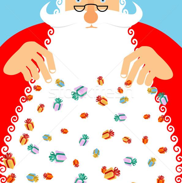 Santa Claus rain gifts. Gift lot of festive box. Christmas poste Stock photo © popaukropa
