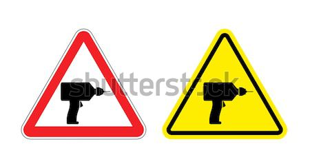 Drill Warning sign yellow. Repair Hazard attention symbol. Dange Stock photo © popaukropa