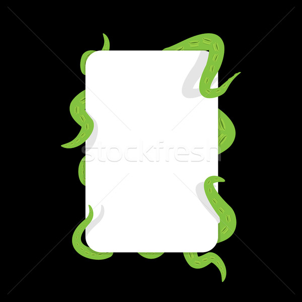 Tentacle and banner. Green Monster hugging white sheet. Cthulhu  Stock photo © popaukropa